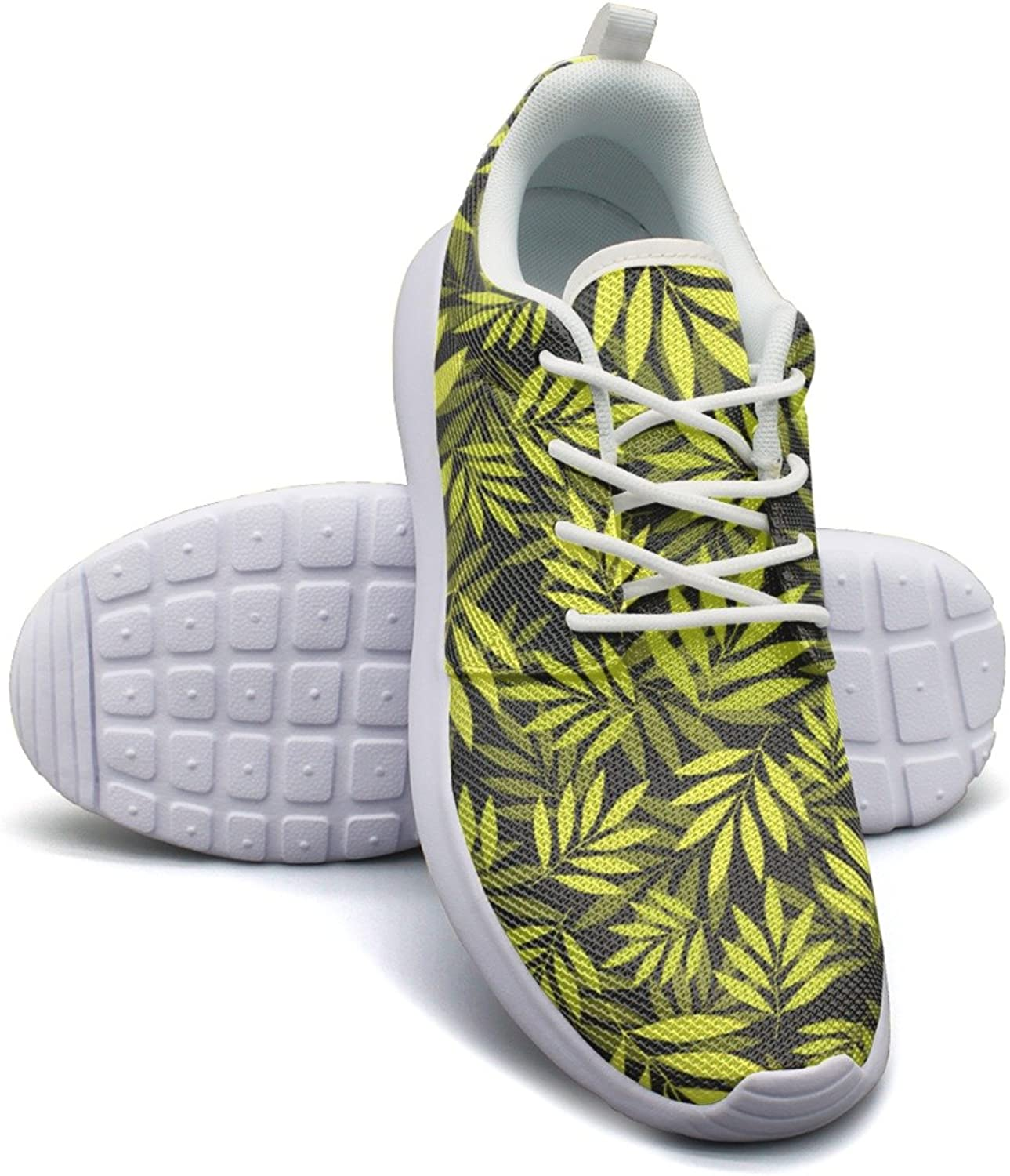 colorful Yellow Tropical Leaves Women's Fashion Athletic shoes Trendy Mesh Lightweight Basketball Sneakers