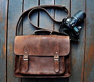 SC Leather DSLR Camera Bag 15.6-Inch Laptop Briefcase; Shoulder Bag Messenger Satchel; Removable Insert; Fits Professional Size DSLR with Lens for Canon Nikon Sony