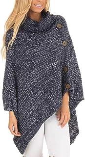 Jinglive Mujeres Suéter Ponchos Cuello Alto Jerséis Capas Tops Pulóver Casual Irregular Prendas de Punto Jerseys Sweater J...