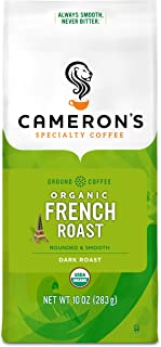 Cameron's Coffee Roasted Ground Coffee Bag, Organic French Roast, 10 Ounce