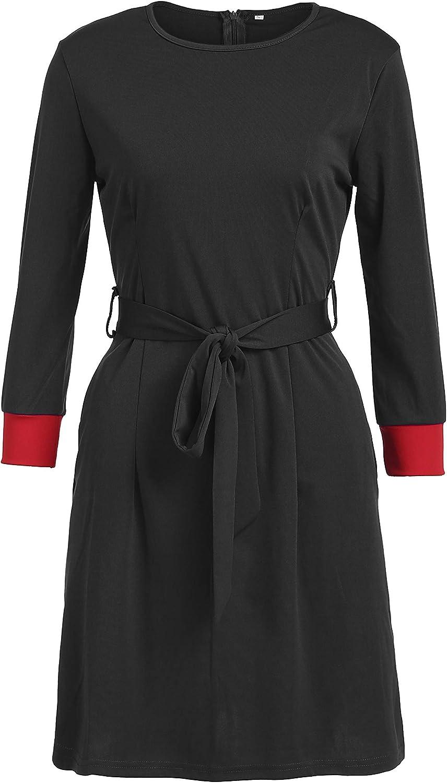luethbiezx Women 3/4 Sleeve Colorblock Office Wear to Work Buiness Pencil Dress with Belt