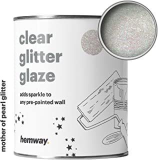 Hemway 1L Clear Glitter Paint Glaze for Pre-Painted Walls Acrylic, Latex, Emulsion, Ceiling, Wood, Varnish, Dead flat, Matte, Soft Sheen or Silk (34 Variations) (Mother Of Pearl)
