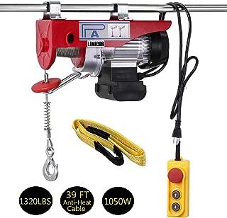 LIMICAR Electric Hoist 1320LBS Overhead Hoist Lift Electric Hoist Crane Garage Ceiling Pulley Winch Remote Control Power System with Premium Straps 6.6'x3