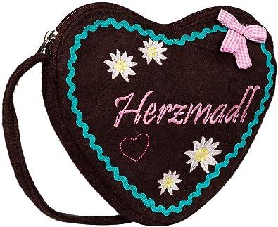 SIX Bestickte Oktoberfest-Handtasche in Herzform aus Filz, Trachtentasche, mit Zierschleife, Umhängetasche, Kostüm, Karneval, Fasching (427-437)
