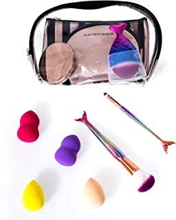 All in One - 11 Piece Cosmetic Bag Set with Brushes, Mirror, Sponges, and 3 Makeup Bags