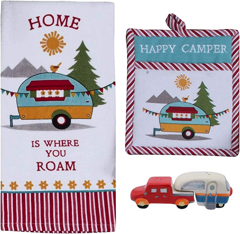 Happy Camper RV Decor Dish Towel Oven Mitt And Salt Pepper Set Kitchen Accessories For Inside Your Travel Trailer Or Motorhome