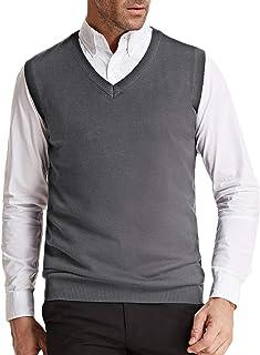 Men's V-Neck Knitting Vest Classic Sleeveless Pullover Cardigan Sweater