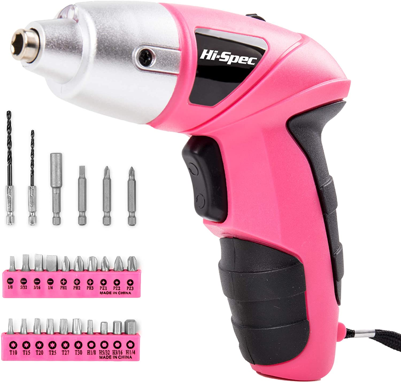 Hi-Spec 27 Piece Pink 4.8V Electric Cordless Power Screwdriver S