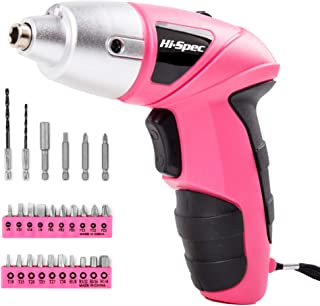 Hi-Spec Pink 4.8V Electric Cordless Screwdriver with 600 mAh NiCad Battery & 26 Piece Screwdriver and Wood Drill Bit Assor...