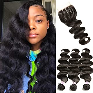 Beauty Forever Hair Brazilian Weave Virgin Hair Body Wave 3 Bundles with 1 Piece 4x4 3 part Lace Frontal Closure 100% Unprocessed Human Hair Extensions Natural Color (20 22 24+16 closure)