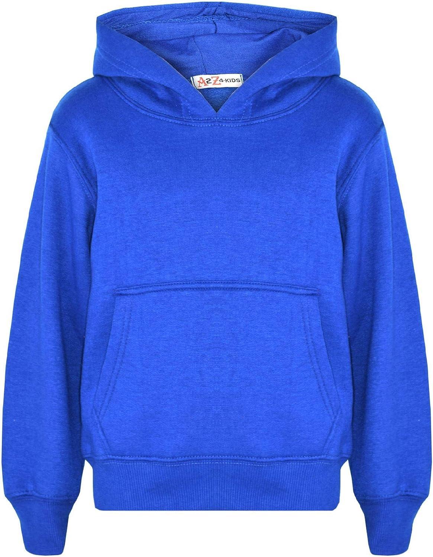 H/&F Girls Girl Boys Kids Unisex Plain Zip Up Full Sleeve 2 Pocket Fleece Hoodie Cardigan Top Size 2 3 4 5 6 7 8 9 10 11 12 13 Year ** 15 Colors **