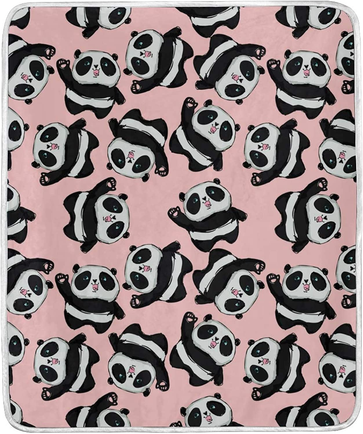 WIHVE Throw Blanket Black and White Panda Lightweight Warm Cozy Microfiber Blankets Travelling Camping 50 x 60 Inch, All Season for Couch or Bed