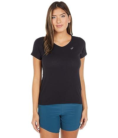 ASICS V-Neck Short Sleeve Top (Performance Black) Women