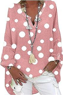 VEMOW Blusas y Camisas de Manga Larga para Mujer con Cuello en V, 2021 Moda Casual Camiseta de Lino de Gran Tamaño Sudader...