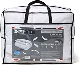 Homescapes White Goose Feather & Down dekbed 13.5 Tog 100% katoen Anti stofmijt & Down Proof stof Anti allergeen Box Baffl...