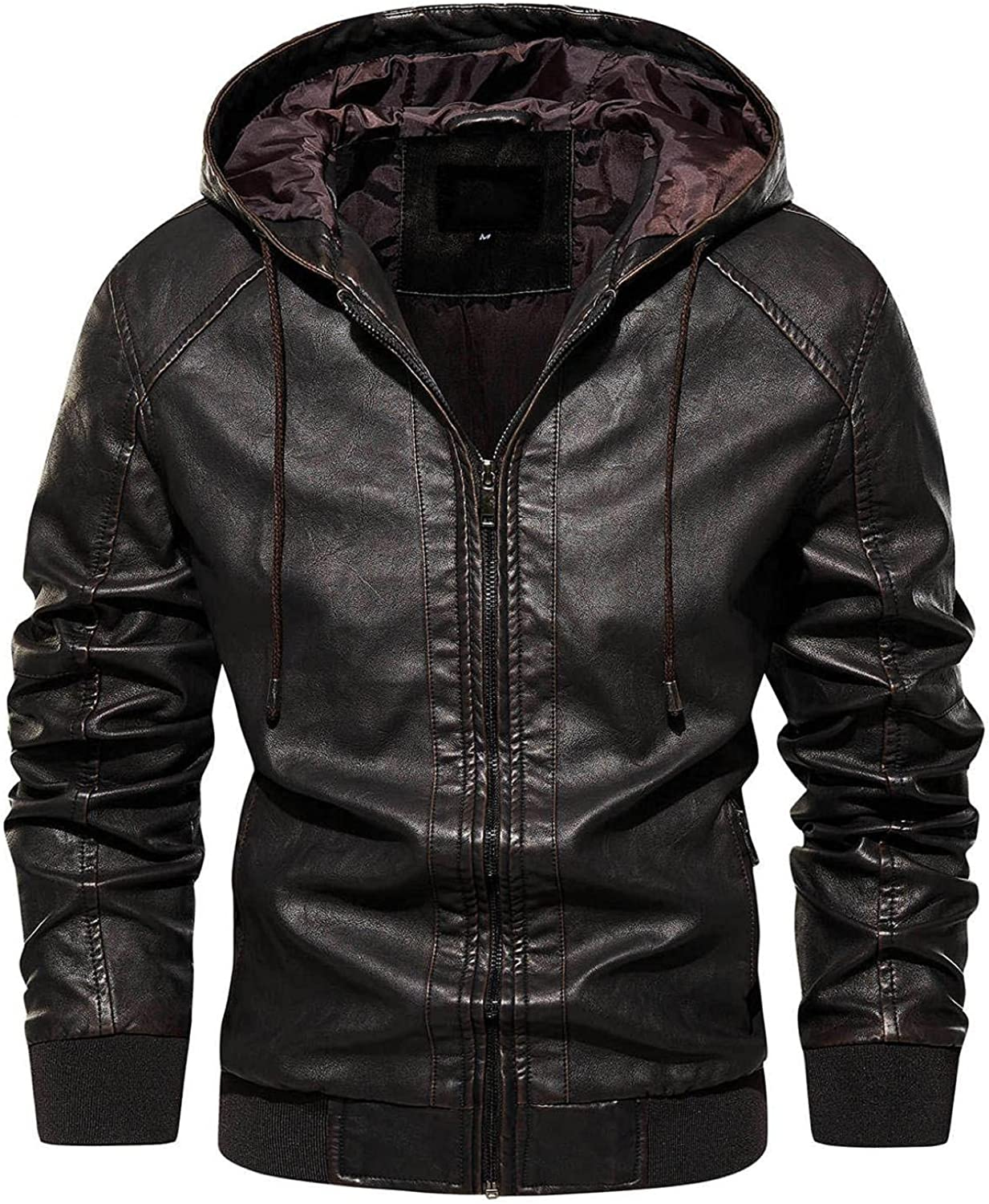 Faux Leather Jackets for Men Full Zipper Hooded Overcoat Vintage Motorcycle Bomber Jacket Solid Warm Winter Coats