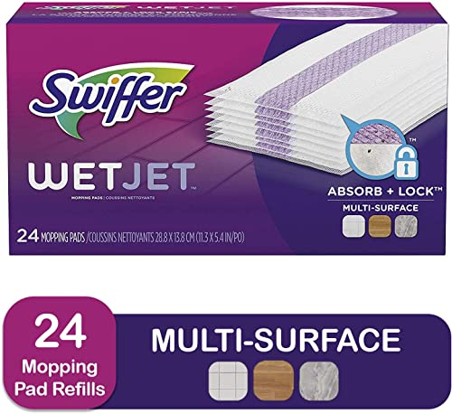 Swiffer WetJet Hardwood Floor Cleaner Spray Mop Pad Refill, Multi Surface, 24 Count