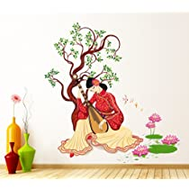 Decals Design 'Chinese Girl Playing Lute Under The Tree' Wall Sticker (PVC Vinyl, 50 cm x 70 cm x 1 cm), Multicolour