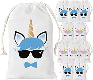 KREATWOW 12 Pack Unicorn Favor Bags Party Supplies Reusable Party Treat Goodie Bags for Birthday Party Supplies 5 x 8 inches