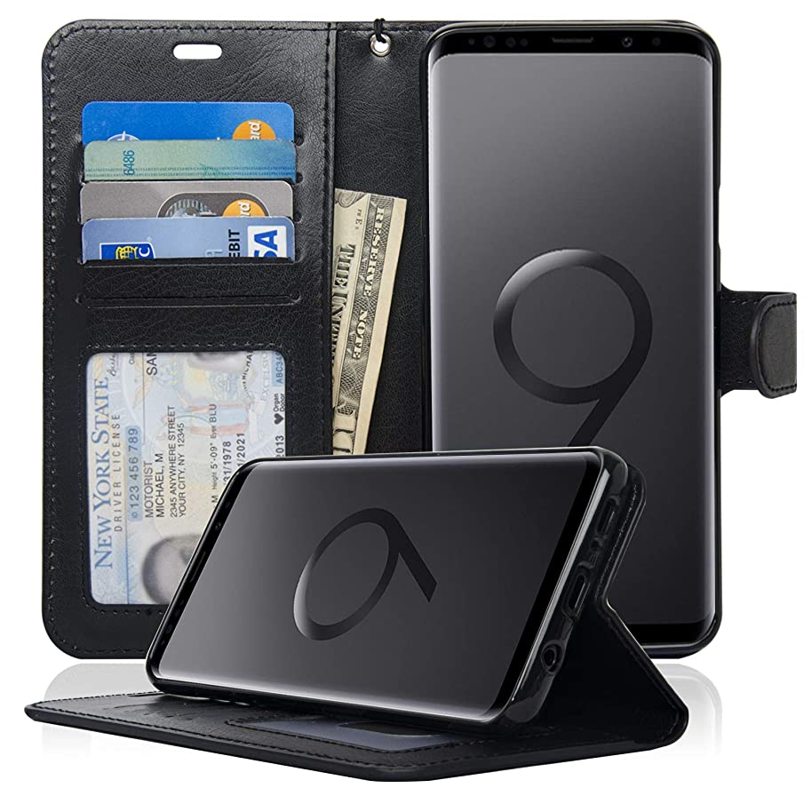 navor Slim & Light Premium Flip Wallet Case with RFID Protection Compatible for Samsung Galaxy S9 Plus -Black