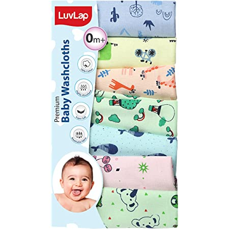 LuvLap Premium Baby Washcloth for New Born, 100% Hosiery Cotton Cloth, Washable, Reusable, Absorbent, Extra Soft Face Towels/Washcloth for Babies, 7 Pcs, Cactus, Baloon Print