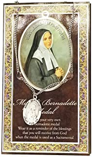 (20 7/18) Saint Bernadette Genuine Pewter Medal with Prayer Card w Copyrighed Paul Herbert Blessing PATRONA Series