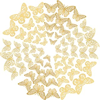 3D Butterfly Wall Decor Paper,Removable Metallic Wall Decals Fridge Sticker Room Mural Decoration for Room Home Nursery Cl...
