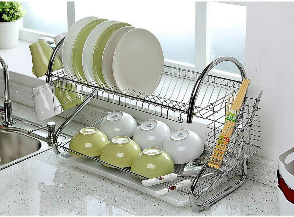 Hokaime S-Forme de Plaque /égouttoir Set 2-Tier Vaisselle Couverts Cup Rack avec Plateau en Acier de vidange Bol Rack Cuisine /étag/ère Accessoires de Cuisine,Argent