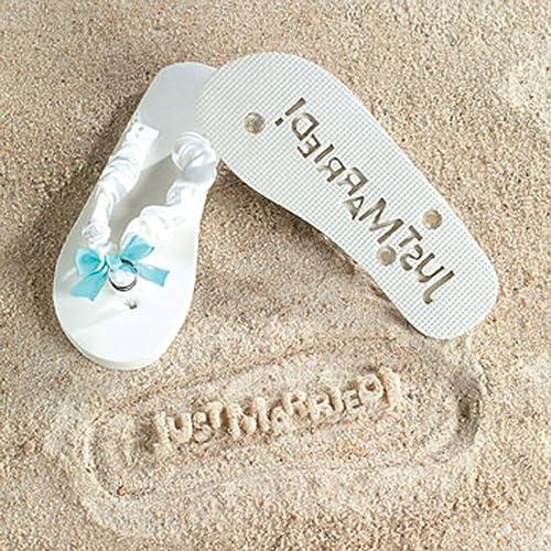d08a853daca7 JUST MARRIED Imprint Flip Flops 5 6 Bridal Shower Gift Beach Wedding Bride  White Fun