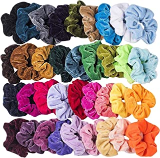 36 Pcs Hair Scrunchies Colorful Velvet Elastic Hair Ties Scrunchy Bobbles Ponytail Holder Bands for Women Girls Hair Accessories