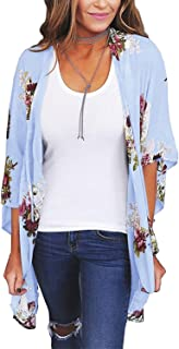 Women Floral Kimono Cardigan Chiffon Casual Loose Open Front Cover Up Tops