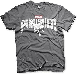 Oficialmente Licenciado Marvel'S The Punisher Distressed Logo Camiseta para Hombre (Gris Oscuro)