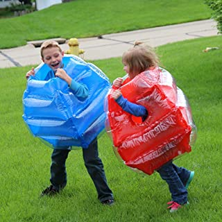 KT Mall 2PCS Inflatable Bumper Ball Bubble Soccer Ball Blow Up Toy Inflatable Bumper Bubble Balls for Child PVC Collision Ball Blue and Red