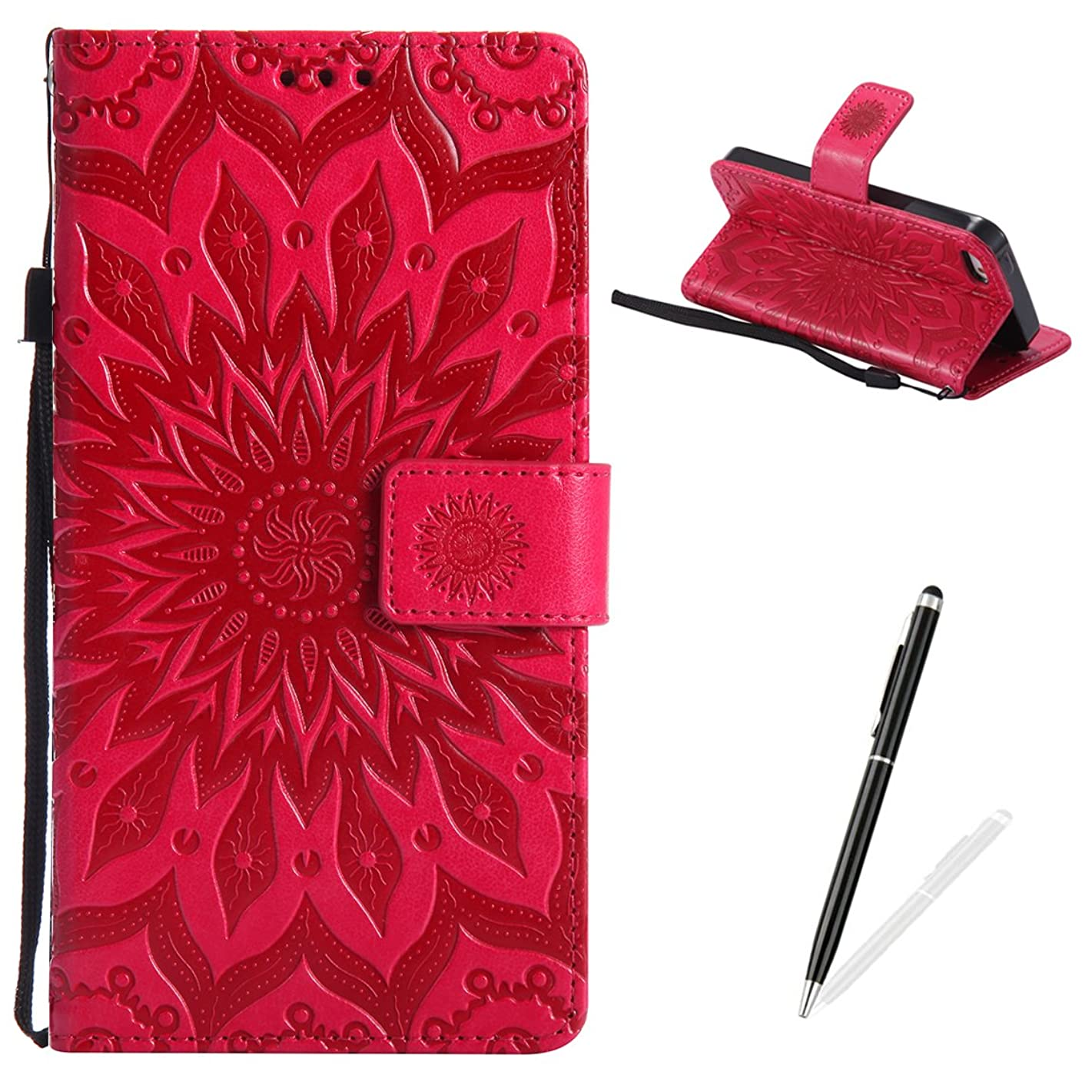 MAGQI iPhone 5 5S SE Case Anti-Scratch Slim Fit Cover, Embossed Mandala Sunflower Serise Luxury Soft PU Leather Stand Vintage Retro Wristlet Flip Wallet Card Slots Skin Shell