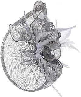 Fascinators Hats for Womens,Handmade Headwear with Veil Flower Hairband Cocktail Wedding Tea Party Church Derby Hat Headdress Hair Accessory,Gray
