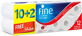 Fine Extra Strong Toilet Tissue Rolls - Pack of 12 Rolls, 150 Sheets x 3 Ply
