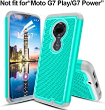 Moto G7/Moto G7 Plus/T-Mobile Revvlry+ case,w HD screen protector Hybrid Dual Layers Heavy Duty Protective Hard PC Football Lines Design Back Soft TPU Rubber Armor Defender Shockproof Phone Case(Teal)