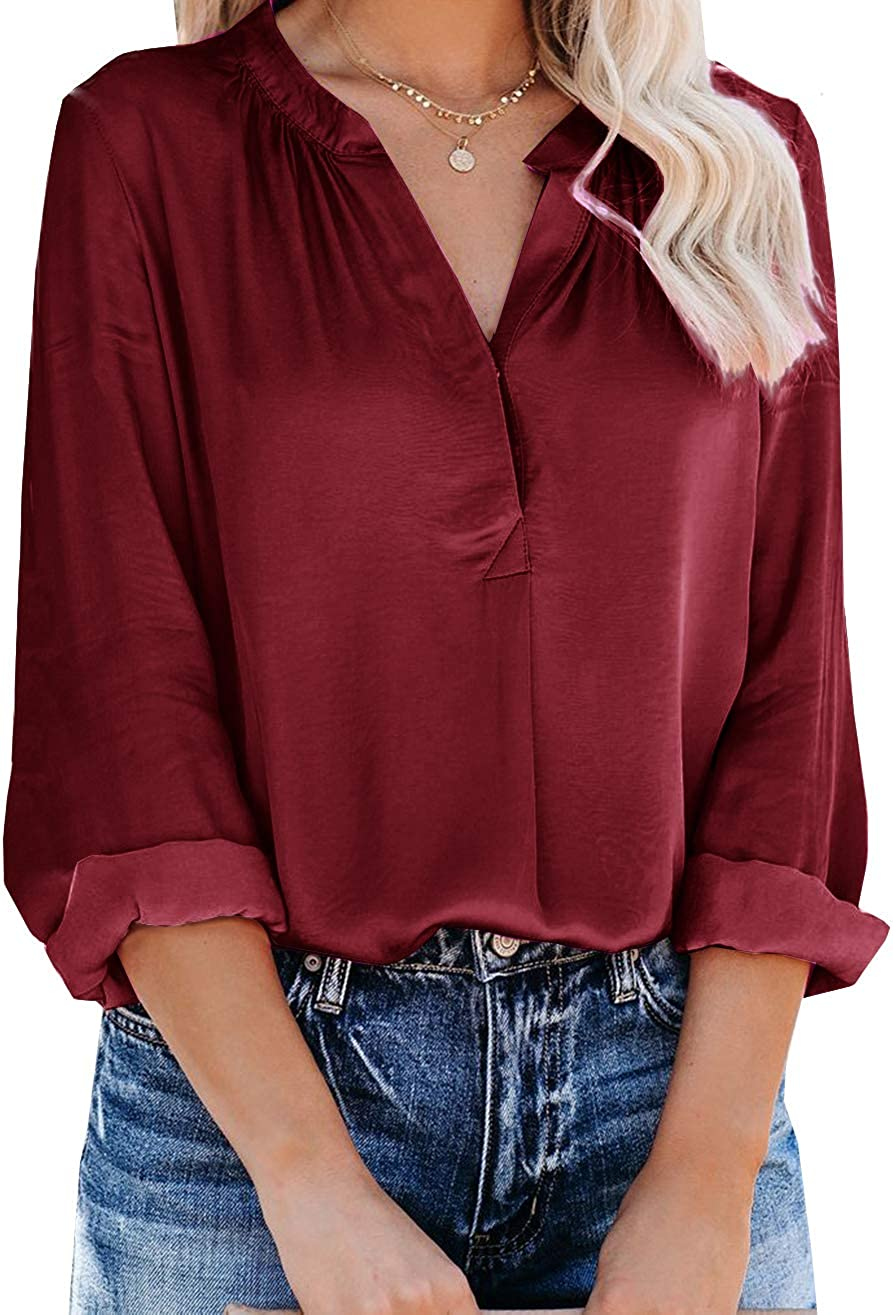 Hiistandd Women's V Neck Chiffon Blouses Tops Long Sleeve Pleated Button Down Business Shirts