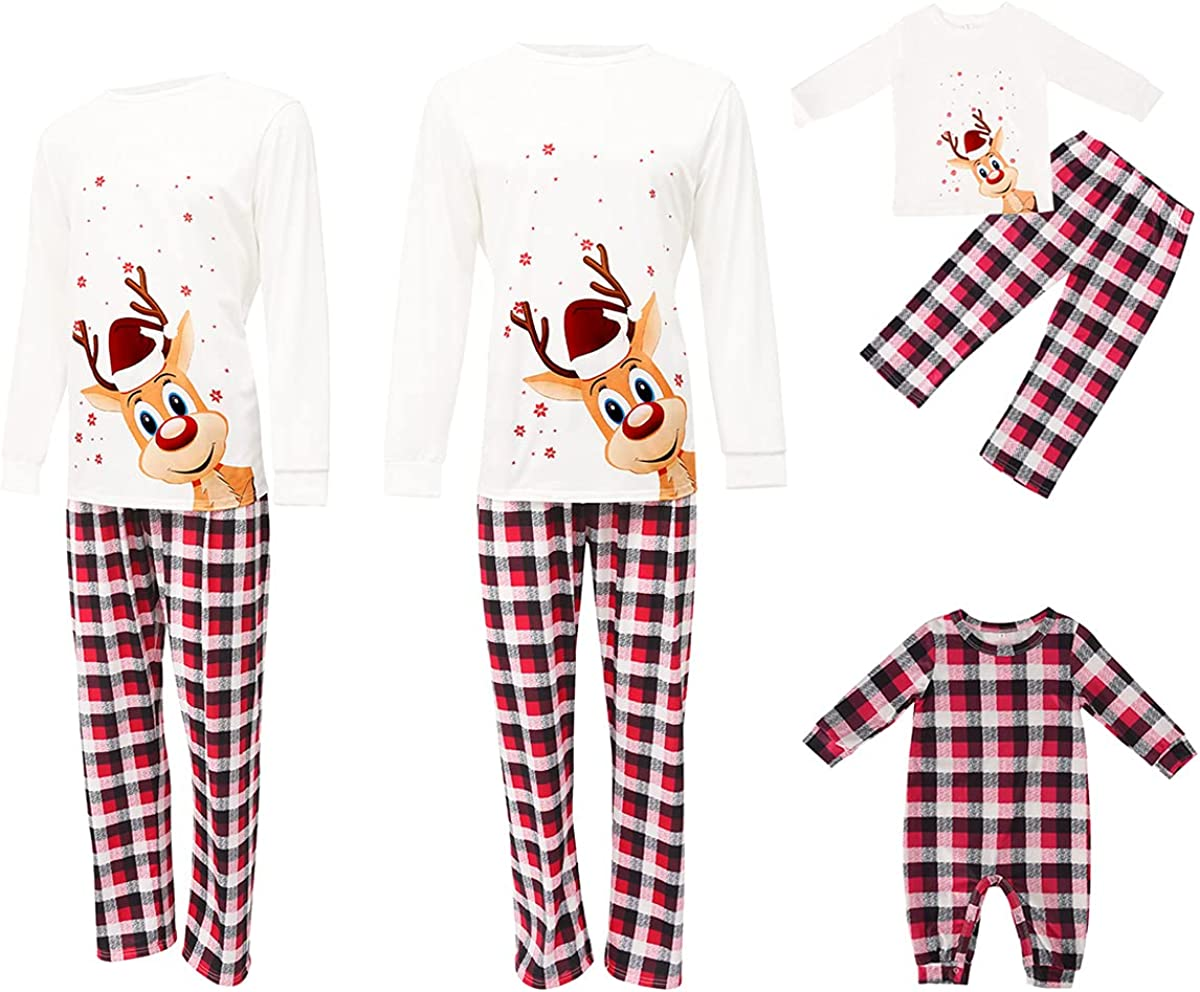latest Family Matching Pajamas Set Deer Print T Round Long Sleeve New popularity Neck