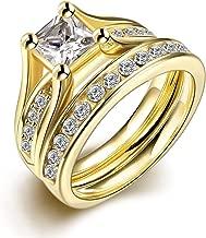 Set de anillos ZUMUii Butterme de titanio 316l dorado con solitario corte princesa de circonio, anillos de compromiso, set de anillos de boda para hombre y mujer tamaño 6-9