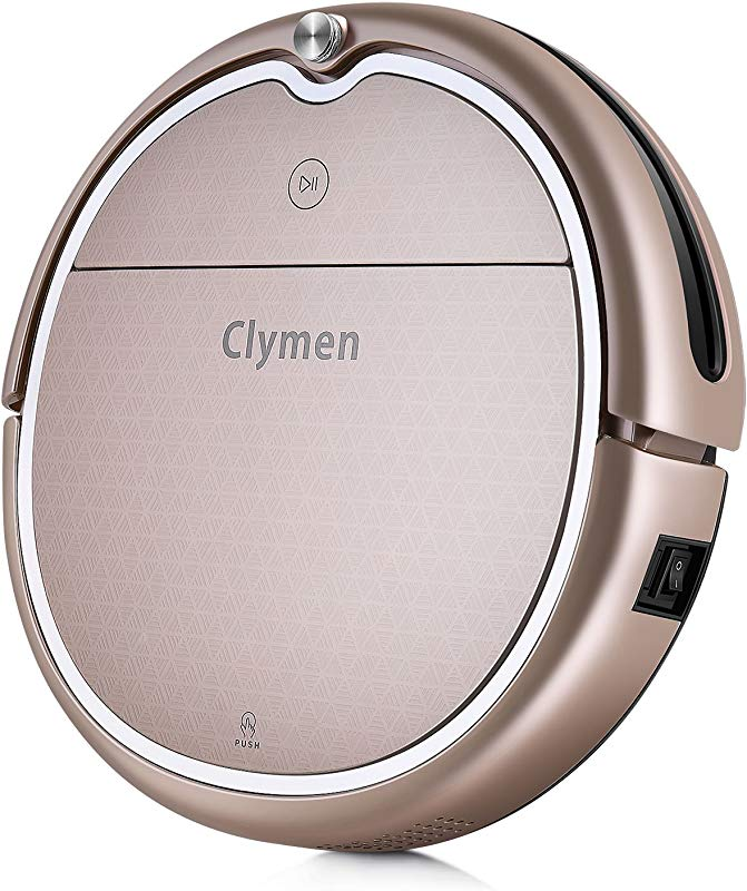 Clymen Q8 Robot Vacuum Cleaner Connects To WiFi And Compatible With Alexa App Robotic Vacuum Cleaner For Pet Hair Voice Control Thin Carpet And Hard Floor Champagne