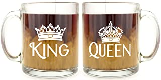 King & Queen Set - Glass Coffee Mug - Makes a Great Gift!