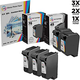 LD Remanufactured Ink Cartridge Replacements for HP 45 & HP 78 (3 Black, 2 Color, 5-Pack)