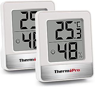 ThermoPro TP49 2 Piezas Mini Termómetro Higrómetro Digital Termohigrómetro de Interior Medidor de Temperatura y Humedad pa...