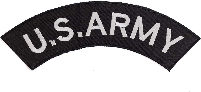 U.S Army White on Black Top Rocker Patch CGI for Biker Vest Jacket 292