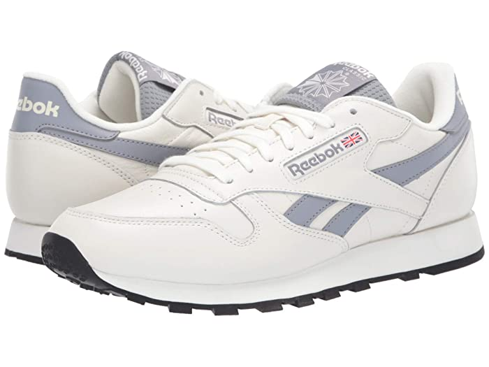 Vintage Sneakers, Retro Designs for Women Reebok Lifestyle Classic Leather ChalkCold GreyBlack Mens Shoes $64.99 AT vintagedancer.com