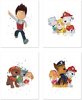 Paw Patrol Wall Art Posters - Set of 4 Prints for Kids - Chase - Skye - Marshall - Rubble - Zuma - Ryder - Inspired Home Decor - Cartoon Illustrations 8x10