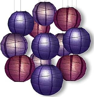 Quasimoon Paperlanternstore.com Purple Party Pack Crisscross Ribbed Paper Lantern Combo Set (12 pc Set)