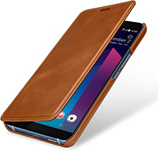 StilGut Case Compatible with HTC U11+ (Plus) Leather Book Type Flip Cover Brown HTU11PSTDJ2VTBN