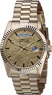 Daniel Steiger 24K Gold Leaf Men's Watch - 24K Gold Foil Dial - Gold Finish Stainless Steel Case & Band - Day & Date Quartz Movement